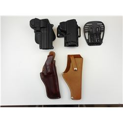 ASSORTED PLASTIC & LEATHER HOLSTERS