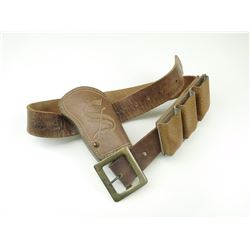 BROWN LEATHER BELT WITH HOLSTERS