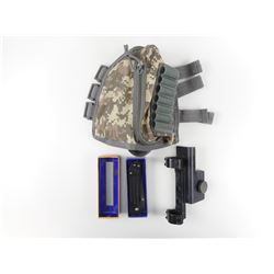 CAMO HOLSTER, SIGHT & FOLDING KNIFE