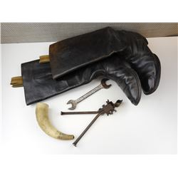 LEATHER BOOTS, POWDER HORN, WWII BRITISH MILITARY WRENCH & VINTAGE BIPOD