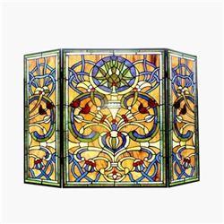 "Tiffany-glass Victorian 3pcs Folding Fireplace Screen 40"" Wide"