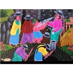 """13 3/4"""" X 9 3/4"""" Unframed Painting On Animal Skin-cayo-haitian? Village Scene"""