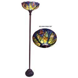 """LIAISON"" Tiffany-style 1 Light Victorian Torchiere Floor Lamp 15"" Shade"