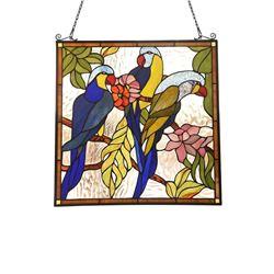 "Animal Tiffany-glass Window Panel 24"" Tall"