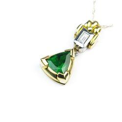 High Quality 18 Karat Tsavorite & Diamond Pendant