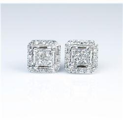 Gorgeous Pair of Princess Cut Diamond Earrings
