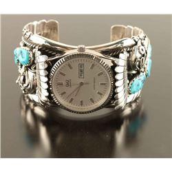 Navajo Silver Sleeping Beauty Watch Cuff