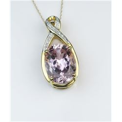 Glamorous Fine Kunzite & Diamond Pendant