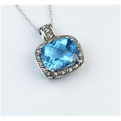 Charismatic Blue Topaz & Diamond Pendant
