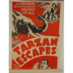 """Vintage """"Tarzan Escapes' Movie Poster"""