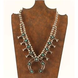 Old Pawn Navajo Silver & Turquoise Squash Blossom