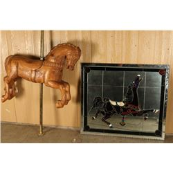 Antique Wooden Carousel Horse and Mirror