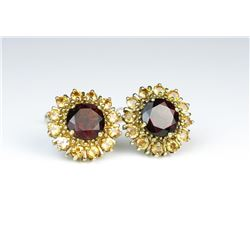 Colorful Red Garnet & Citrine Earrings