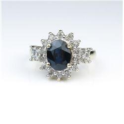Alluring Blue Sapphire & Diamond Ring