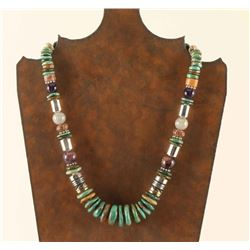 Navajo Turquoise& Sterling Beaded Necklace