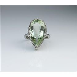 Amazing Green Amethyst & Diamond Ring