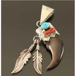Navajo Bear Claw & Turquoise Pendant
