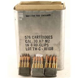 Lot of 30 Caliber AP M2 Ammo