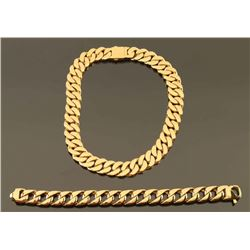 Gold Plated Heavy Link Chain Necklace & Bracelet