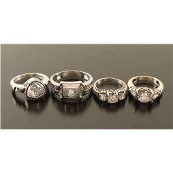 Lot of 4 CZ Rings