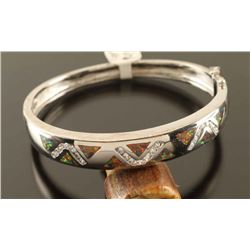 Inlaid Opal & Zirconia Hoop Bracelet