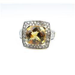Elegant LEVIAN Style Citrine & Diamond Ring