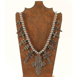 Navajo Sterling Cross Squash Blossom Necklace