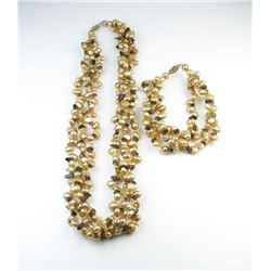 Elegant Gold Colored Freeform Pearl Necklace