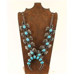 Navajo Made Silver & Turquoise Squash Blossom
