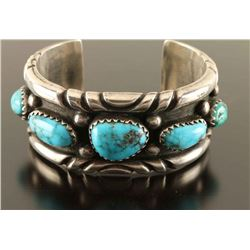 Vintage Old Pawn Navajo Sterling & Turquoise Cuff