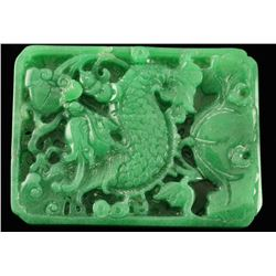 Bright Green Carved Stone Plaque