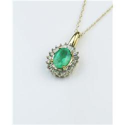 Elegant Emerald & Diamond Pendant