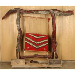 Loom with Tools & Weaving