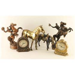 Lot of Western Clocks & Figurines