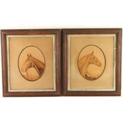 Lot of 2 Horse Pyrography Portraits