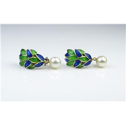 Designer Natural Pearl & Enamel Earrings