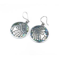 Silver & Abalone Shell with Indian Design Earrings