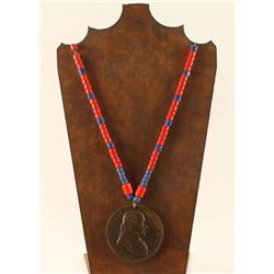 Beaded Necklace with Peace Medal