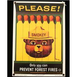 Repro Smokey the Bear Advertising Sign