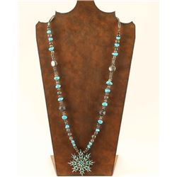 Beaded Necklace with Snowflake pendant