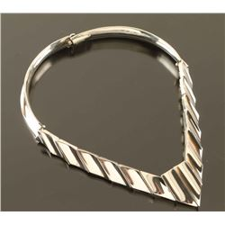 Silver Link Pointed Band Choker
