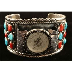 1970's Vintage Turquoise & Coral Inlaid
