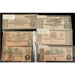 Lot of 5 Authentic Confederate Bank Note