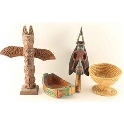 Lot of Wood Carved Alaskan Items