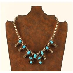 Vintage Navajo Turquoise & Sterling Squash Blossom