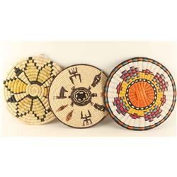 Lot of 3 Basketry Trays