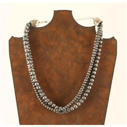 Navajo Sterling Silver Beaded Necklace
