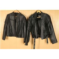 Lot of 2 Mens Black Leather Jackets