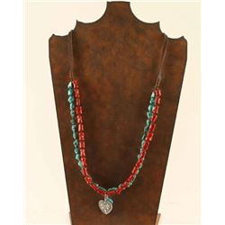 Turquoise & Red Bone Necklace