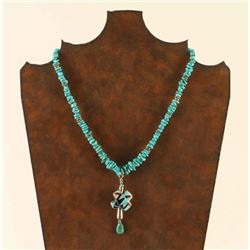 Turquoise Necklace with Inlaid Pendant